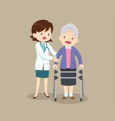 Doctor helps her grandmother to go to walker vector