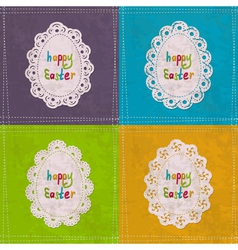 Easter cards with lacy frames vector