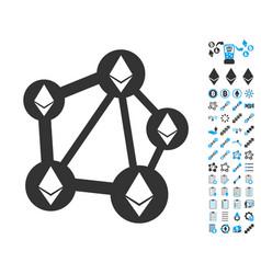 Ethereum network icon with bonus pictograms vector