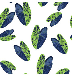 Exotic green and blue bright leaves seamless vector