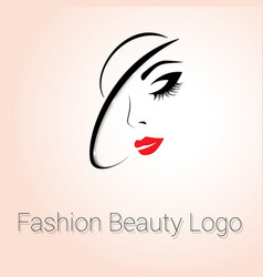 Fashion Beauty Logo Woman with Hat vector