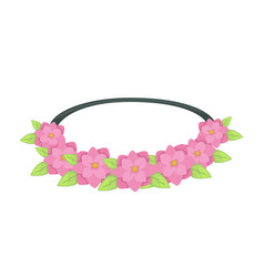 Fashionable hairband or scrunchie with flowers and vector