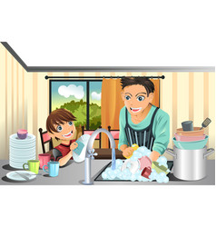 father and son washing dishes vector image