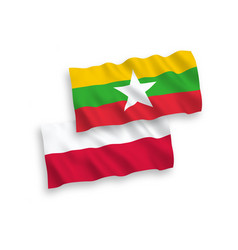 Flags myanmar and poland on a white background vector