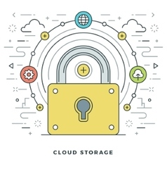 Flat line Cloud Storage Concept vector