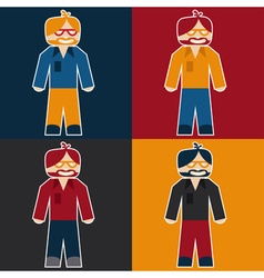 flat sticker of hipster vector image