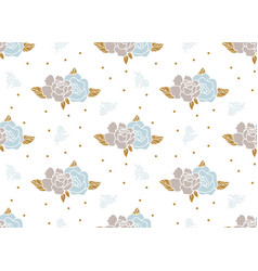 Floral pattern with peony flowers and polka dots vector
