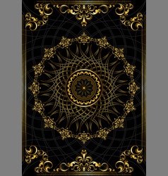 frame with gold ornament on black background vector image