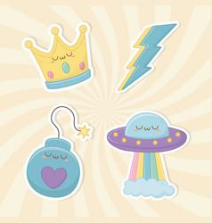 funny fantasy set kawaii characters vector image