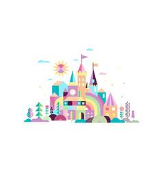 Geometric fairy tale kingdom knight and princess vector