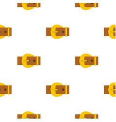 Gold buckle belt pattern flat vector