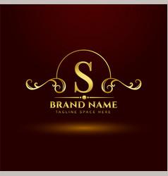 Golden royal brand logo concept for letter s vector