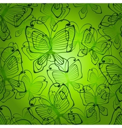 Green butterflys seamless patten vector