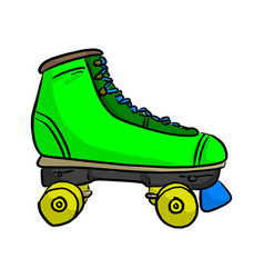 green retro roller skate sketch vector image