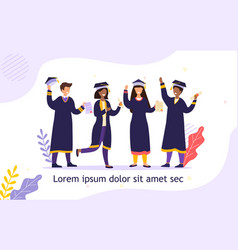group diverse friends graduating together vector image