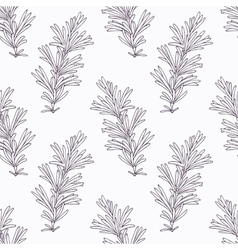 Hand drawn rosemary branch outline seamless vector image