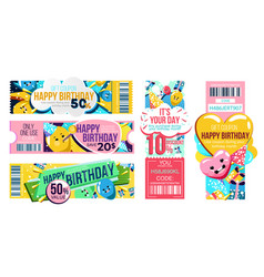 Happy birthday gift voucher with discount offer vector