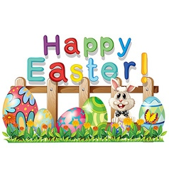 Happy easter with bunny and eggs vector