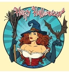 Happy Halloween beautiful witch and bat vector image