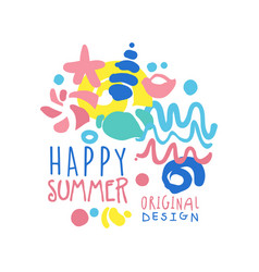 Happy summer logo template original design vector