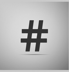 Hashtag icon on grey background social media vector