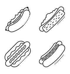 hot dog icons set outline style vector image