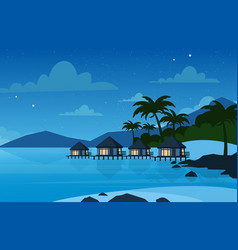 Hotel on the tropical beach vector