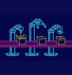 industrial robot arm vector image