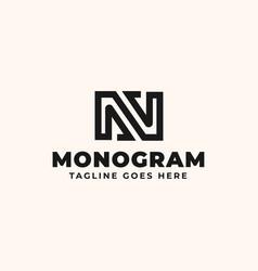 initial lettermark n monogram logo template vector image