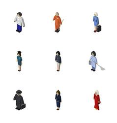 Isometric human set of housemaid girl vector
