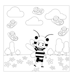 Kid in bee dress coloring page vector