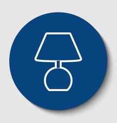 lamp sign white contour icon vector image