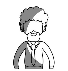 Line man with beard and elegant clothes vector