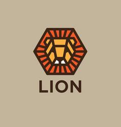Logo lion golden head with rays like sun vector