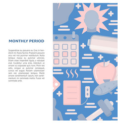menstrual period symbols concept banner in flat vector image