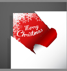 Merry christmas paper corner cut out with vector