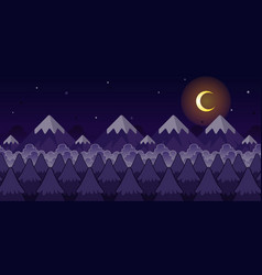 Mountain night game background vector