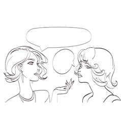 nice drawn two talking women lineart pop vector image vector image