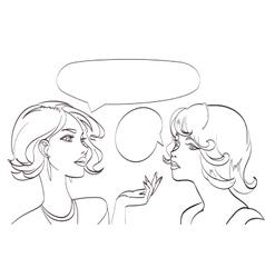 Nice drawn two talking women lineart pop vector