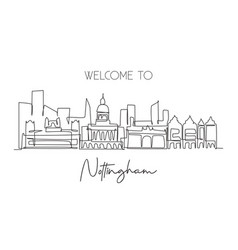 one single line drawing nottingham city skyline vector image