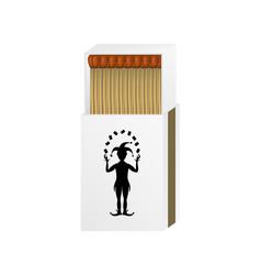 open matchbox with a joker vector image