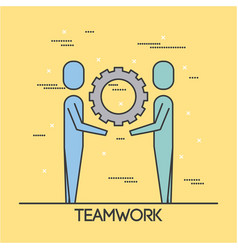 people teamwork cooperation solution business vector image