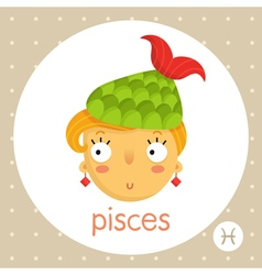 Pisces zodiac sign girl with fish tail vector image