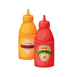 Plastic bottles mustard and ketchup fast food vector
