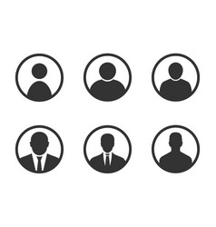 Profile avatar signs user icon set with men vector