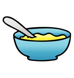 Quirky gradient shaded cartoon bowl of soup vector