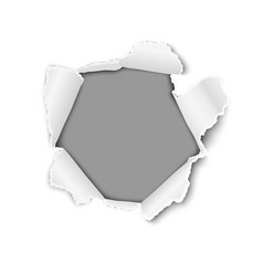 ragged hole in white sheet of paper vector image