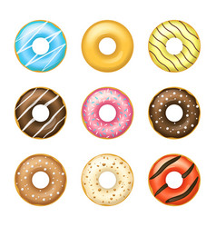 realistic detailed 3d glazed donuts set vector image