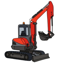 Red small excavator vector