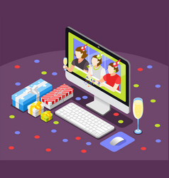 remote quarantine party background vector image